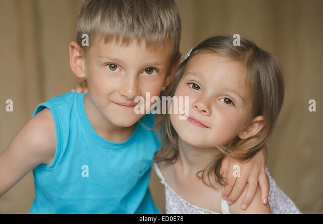 Portrait of brother and sister - Stock Image
