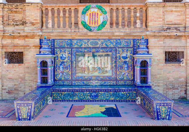 Glazed tiles bench of spanish province of Lerida at Plaza de Espana, Seville, Spain - Stock Image