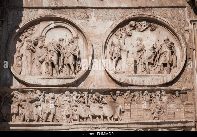 Detail on the Arch of Constantine, Rome, Lazio, Italy. - Stock Image