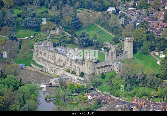 Aerial image of Warwick castle - Stock Image