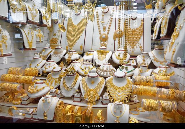 Dubai Gold Souk Market, Dubai, United Arab Emirates - Stock Image