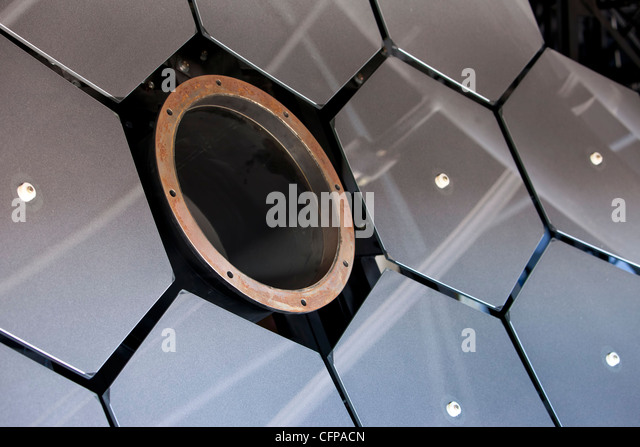 Cosmic Ray fluorescence detectors reflective mirror array scientific observatory electronic equipment close. - Stock Image