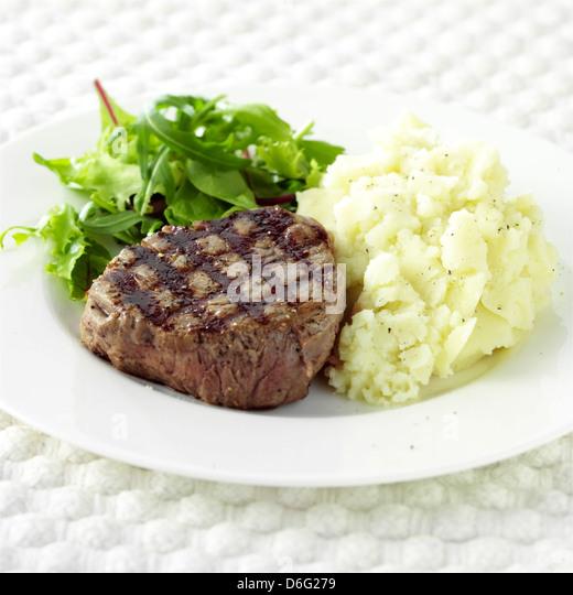 Fillet Steak and Mashed Potato - Stock Image
