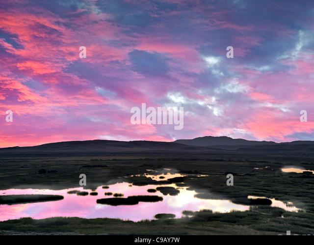 Buena Vista Ponds at Sunrise. Malhuer National Wildlife refuge. Oregon A sky has been added - Stock-Bilder
