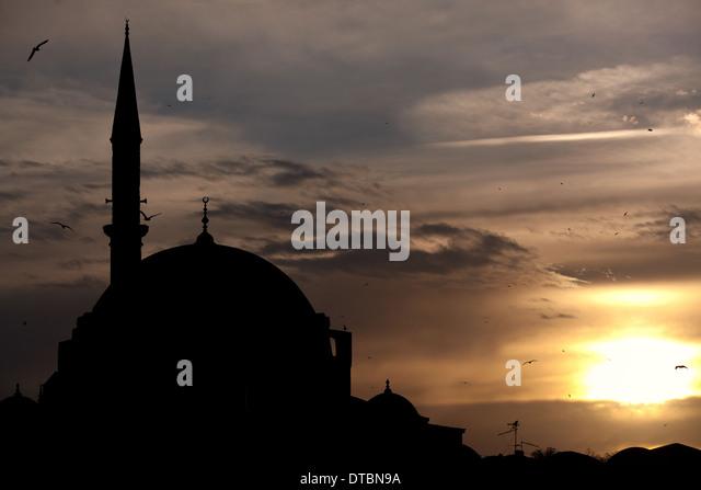 Silhouette of the Rustem Pasha Mosque - Stock Image