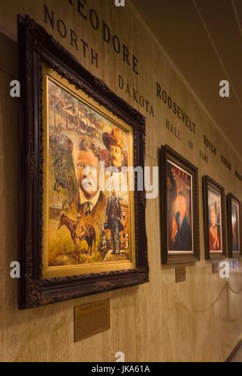 USA, North Dakota, Bismarck, North Dakota State Capitol, gallery of North Dakota celebrities, President Theodore - Stock Image