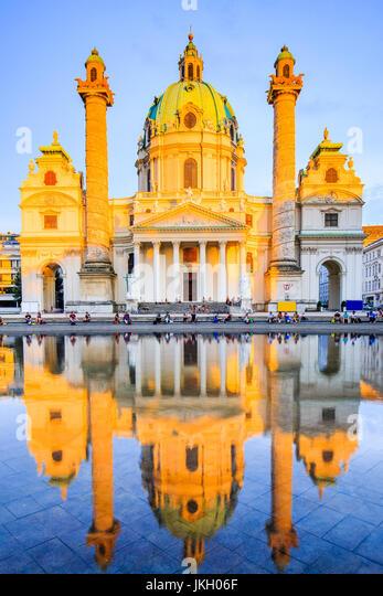 Vienna, Austria. St. Charles's Church (Karlskirche) at sunset. - Stock Image
