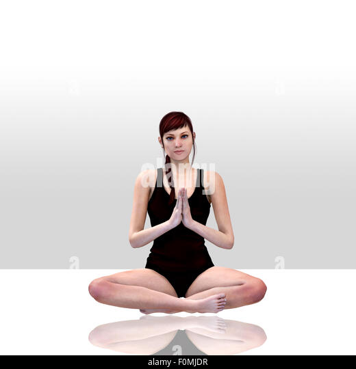 3d render of a female doing yoga - Stock Image
