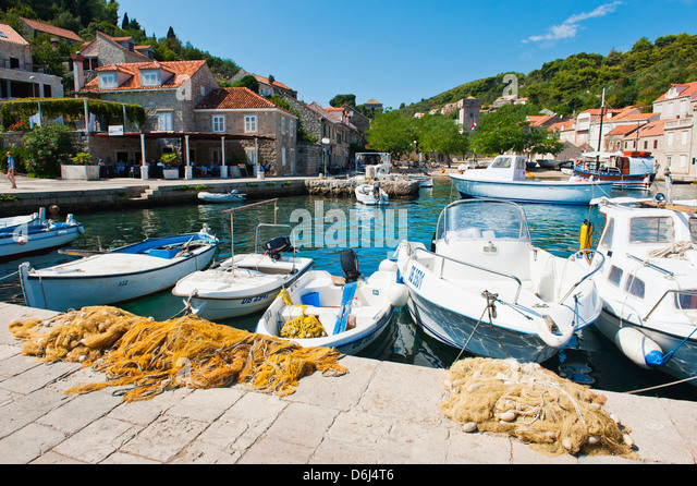 Fishing boats in Sipan harbor, Sipan Island, Elaphiti Islands, Dalmatian Coast, Adriatic, Croatia, Europe - Stock Image