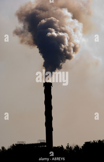 Smoke belching from power station Dublin Ireland - Stock Image