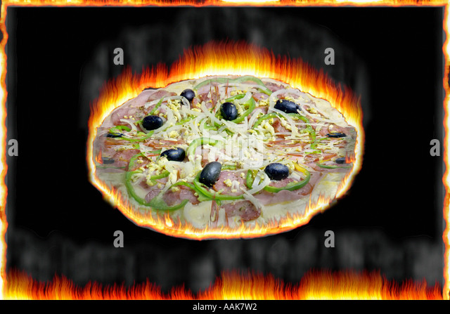 Flaming Pizza - Stock Image