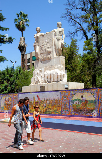 Argentina Mendoza Plaza Espana Spanish Fraternity Monument sculpture sculptor Luis Bartolomé Somoza commemorative - Stock Image
