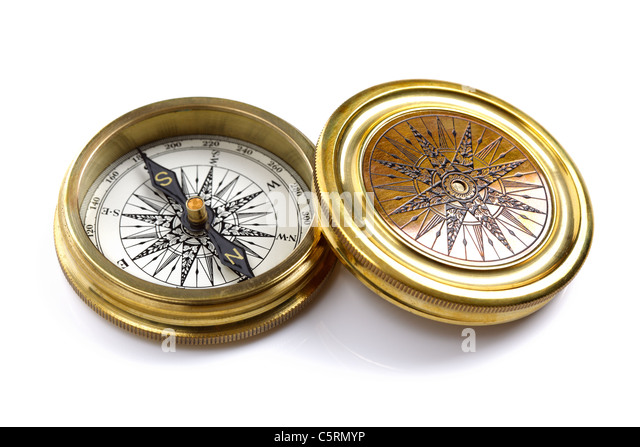 Antique brass compass - Stock Image