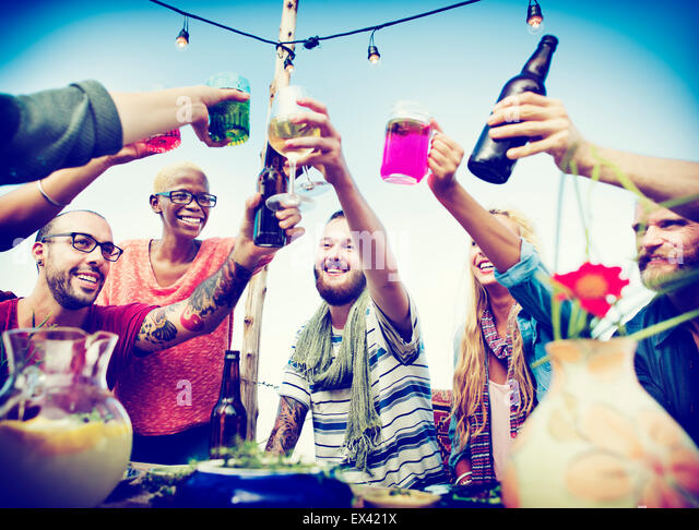 Beach Cheers Celebration Friendship Summer Fun Dinner Concept - Stock Image