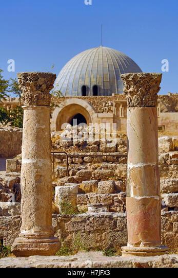 The Umayyad Palace in the Amman Citadel, Jabal Al-Qala, Amman, Jordan - Stock Image