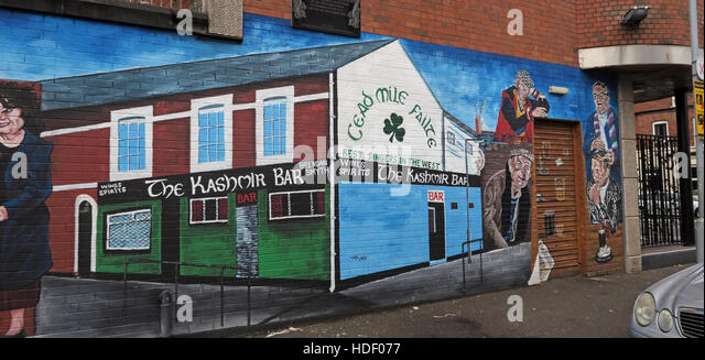 Belfast Falls Rd Republican Mural- The Kashmir Bar - Failte - Stock Image