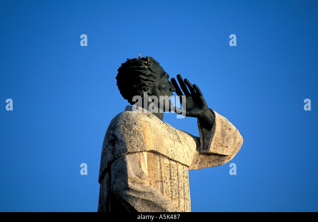 Dominican Republic Santo Domingo statue of Friar Antonio de Montecrios on the Malecon - Stock Image