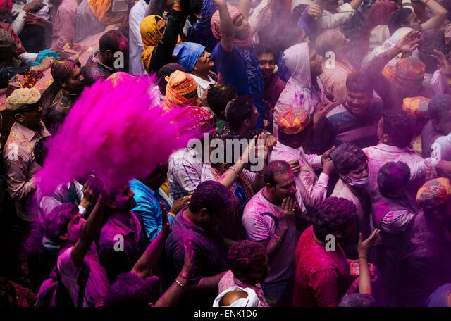 Lathmar Holi celebrations in Bankei Bihari Temple, Vrindavan, Braj, Uttar Pradesh, India, Asia - Stock Image