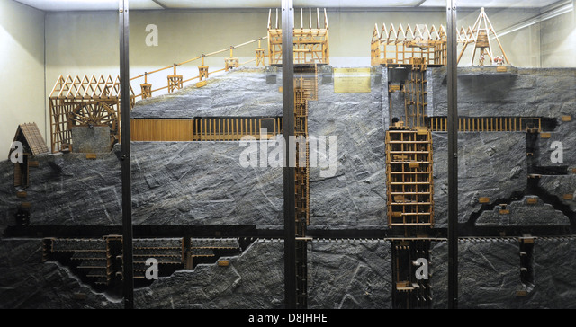 Section of an underground mine. Model. Scale 1:25. Manufactured in 1906. By R. Brown. Deutsches Museum. Munich. - Stock Image