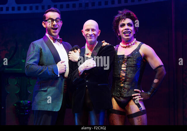 London, UK. 15 September 2015. L-R: Ben Forster (Brad), Richard O'Brien (narrator) and David Bedella (Frank'n'Furter). - Stock Image