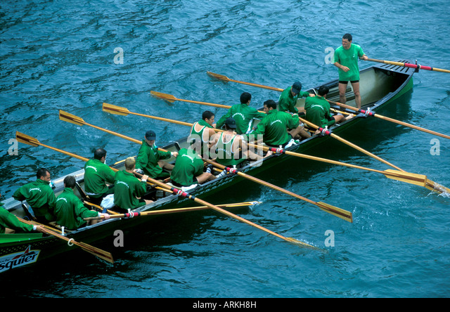 Rowing competition in San Sebastian, Spain. - Stock Image