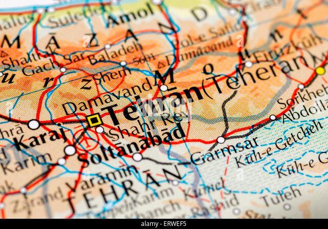 Close up of map of Tehran, capital city of Iran - Stock Image