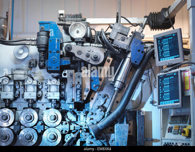 Machinery in automotive parts factory, detail - Stock Image