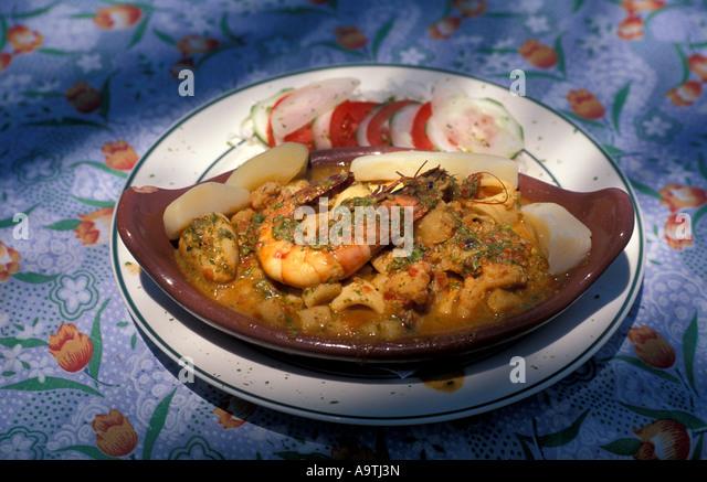 Isla Margarita island Venezuela seafood dish cazuela de mariscos local cuisine  nobody - Stock Image