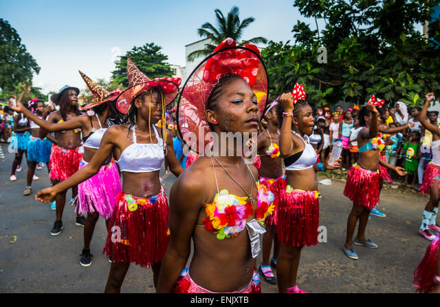 Carneval parade in the town of Sao Tome, Sao Tome and Principe, Atlantic Ocean, Africa - Stock Image