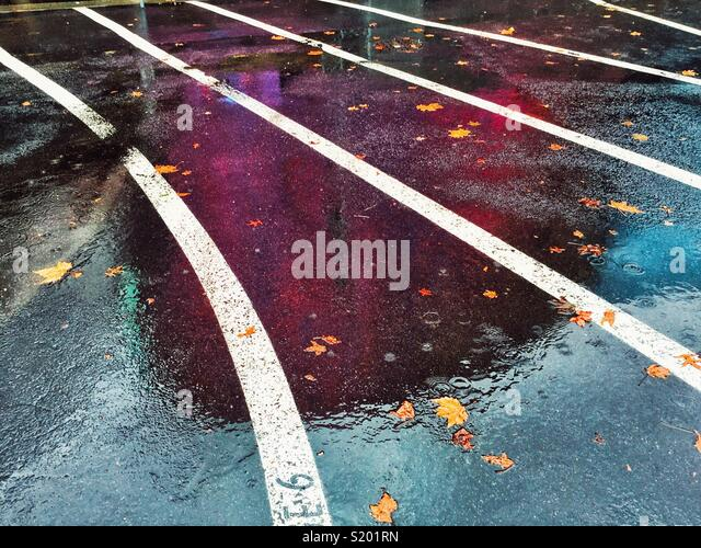 MoPop, museum of popular culture, build by Frank Gehry , reflects in the rainy wet pavement in Seattle Center - Stock Image