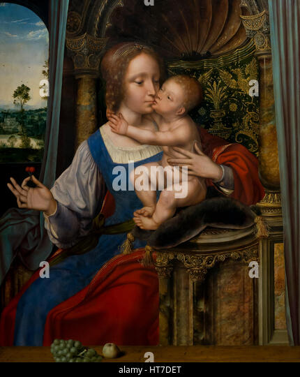 Madonna and Child, by Quentin Massys, circa 1525, Royal Art Gallery, Mauritshuis Museum, The Hague, Netherlands, - Stock Image