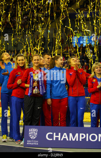 The Russian team celebrate victory at 26.01.2013 British Athletics Glasgow International Match Emirates Arena - Stock Image