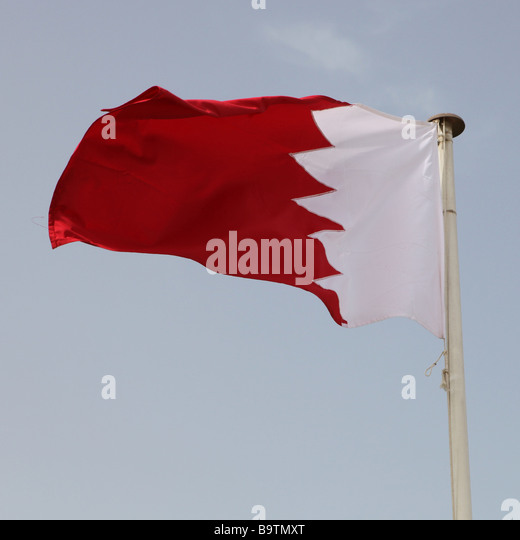 The national flag of Gulf Co operation Council member Bahrain - Stock Image