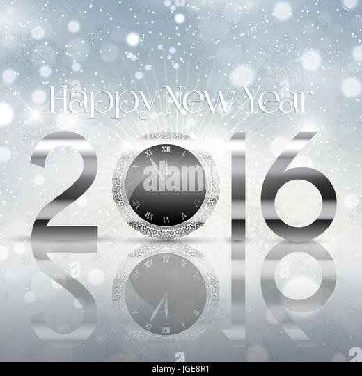 Happy New Year background with typography design - Stock Image