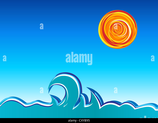 Waves, sun and sky. Vector illustration. - Stock Image