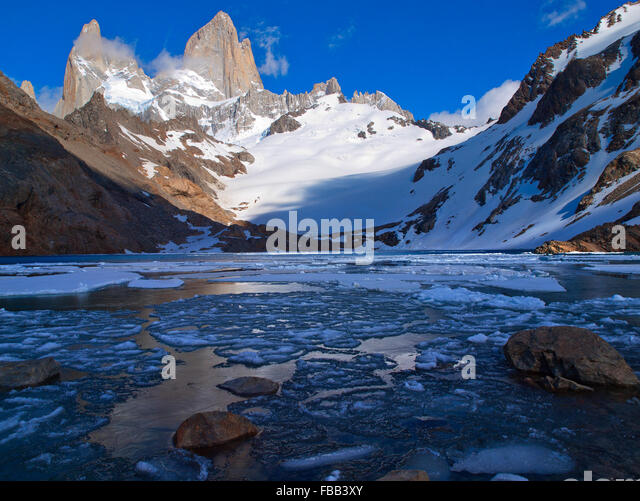 Laguna De Los Tres, Fitz Roy Patagonia - Stock Image