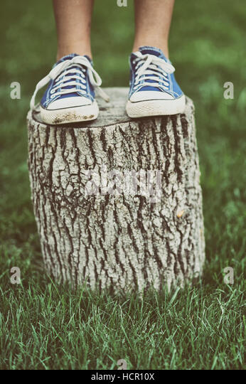 Girl standing on a tree stump - Stock Image