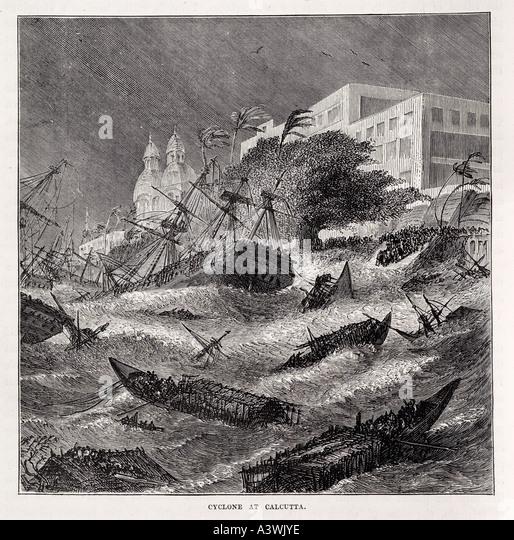 calcutta India Asia coast storm typhoon monsoon wreck founder ground blow ashore coast sink wreck ship sail boat - Stock Image