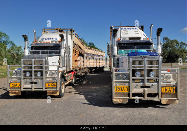 Road trains for transporting livestock, Moura, Great Dawson Highway, Queensland, Australia - Stock Image