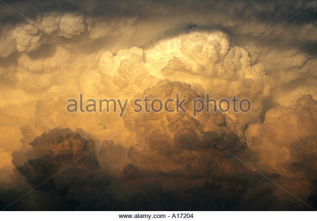 Cumulonimbus Clouds in tornado producing  supercell thunderstorm near Anthony Kansas  USA - Stock Image