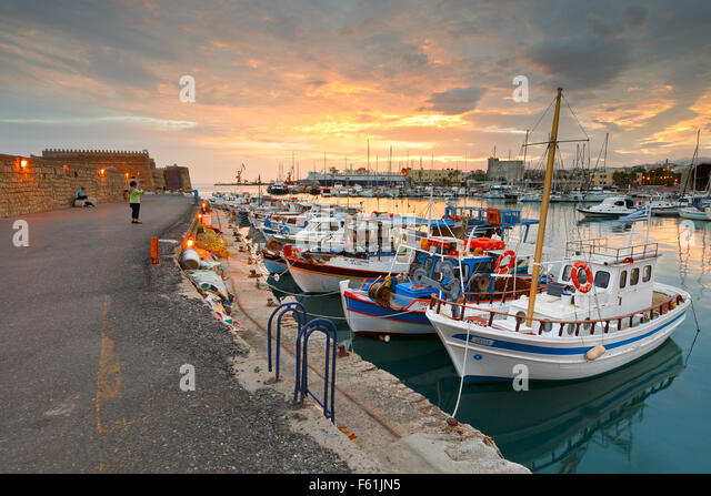 Venetian fortress in the old harbour of Heraklion in Crete, Greece - Stock Image