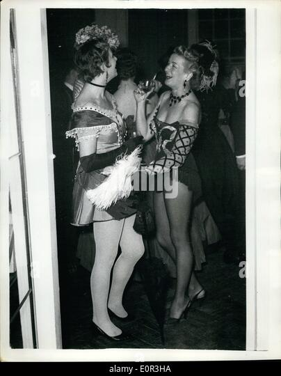 Nov. 11, 1957 - London's Liveliest Social Set Hold Victorian Age Party to Launch a New Book. Nearly 200 people - Stock Image