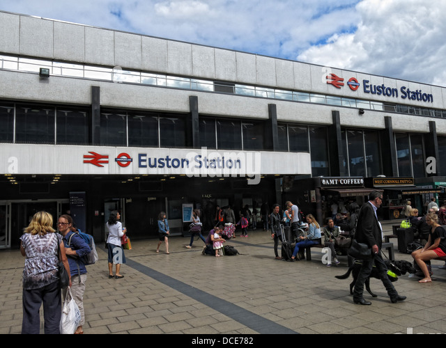 Outside Euston Station London - Stock Image