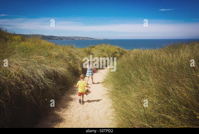 Head for the Beach - Stock-Bilder