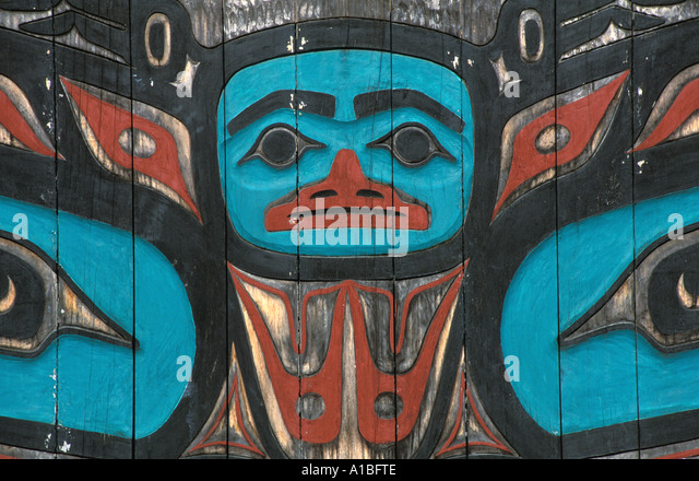 Alaska Tlingit carving figure native art - Stock Image