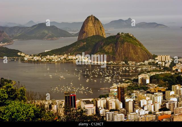 Sugarloaf Mountain in Rio de Janeiro in Brazil - Stock Image