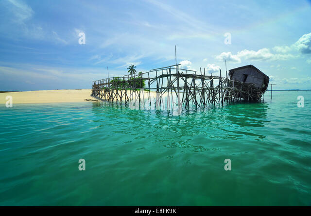Indonesia, Bangka Belitung, Belitung Island Riau, Broken hut on pier - Stock Image