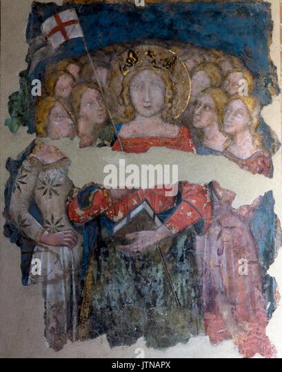 Interior fresco, Basilica of Santo Stefano, Sette Chiese, Seven Churches, Bologna, Emilia-Romagna region, Italy - Stock Image