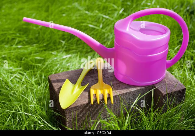 Garden Rake Shovel Watering Can Stock Photos Garden Rake