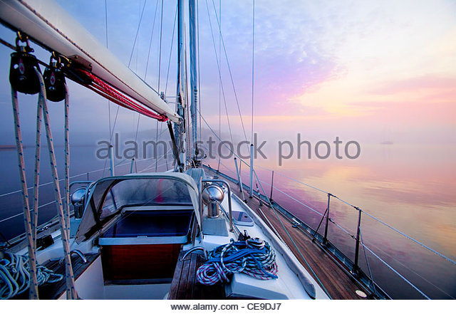 Dawn from the deck of a sailboat along the Atlantic Intracoastal Waterway, Pamlico Sound, North Carolina, USA. - Stock Image